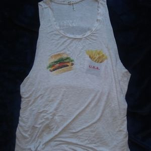 *PINK*-fast food tank, super soft, red/white/food